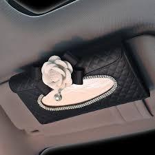 white camellia bling leather car