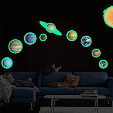 Amazon Com Gsjj Removable 3d Luminous Sticker Nine Planets Solar System Wall Decal Glowing Wall Sticker Home Living Room Bedroom Kids Children S Room Decoration Nineplanets Home Kitchen