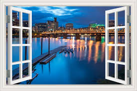 Amazon Com Greathomeart Removable Wall Decals Window Scenes Sticker City Bridge Night Landscape Wallpaper For Living Room Home Decor 24 X36 Home Kitchen