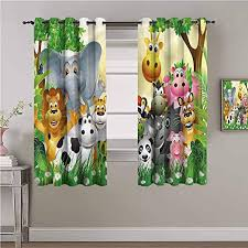 Amazon Com Kids Bedroom Decor Blackout Shades Cute Animals Jungle Room Darkened Heat Insulation Curtain Print Sliding Soundproof Curtains W84 X L84 Inch Home Kitchen
