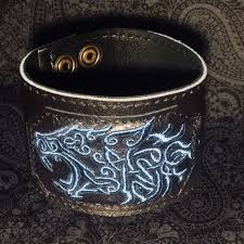 odin lion leather wrist cuff wristband