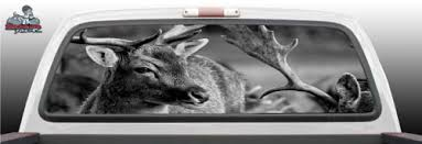 Deer Hunting Hunter Gray Scale Grayscale Tattoo Graphic Window Perf Perforated Wrap Vinyl Decal Truck Pickup Suv