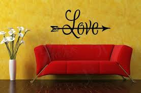 Love With Arrow Romantic Home Decor Vinyl Wall Sticker Lettering Wall Quotes