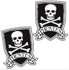 Amazon Com Skinoeu 2 X Self Adhesive Vinyl Decal Pirates Flag Jolly Roger Skull And Bones Funny Stickers Car Window Auto Moto Motorcycle Helmet Bike Skate Truck Racing Tuning Laptop Ipad Phone B 243