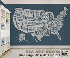 Wall Decal Usa America Map Boys Decor United States Atlas Boy Decor Map Nursery Wall Decals