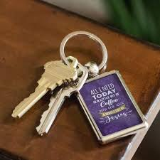 all i need today is coffee and jesus quotes christian keychain