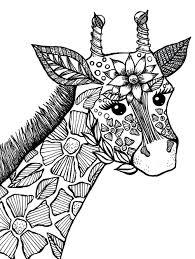 Giraffe Adult Coloring Book Page Kleurplaten Mandala