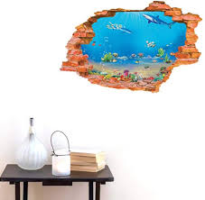 Amazon Com Bibitime Tropical Fish Shark Break Through Wall Stickers Home Art 3d Underwater World Wall Decal Vinyl Decor For Nursery Bedroom 34 25 X 22 04 Arts Crafts Sewing