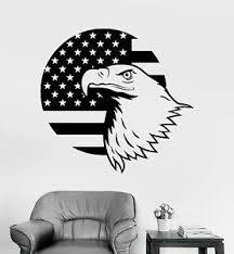 Vinyl Wall Decal American Bald Eagle Flag Patriotic Stickers 454ig Ebay