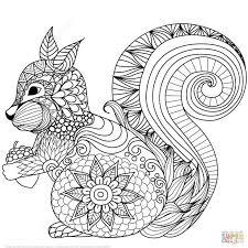 Lovely Squirrel Zentangle Coloring Page Kleurplaten Mandala