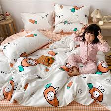 Cotton Lovely Cartoon Three Piece Bedding Set Cute Japanese Style Four Piece Skin Friendly Soft Bedsheets Duvet Cover For Children Bedspreads For Boys Room Bedding Kids Boys From Gallopgifts 62 03 Dhgate Com