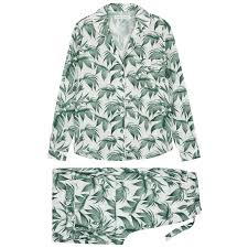 Desmond & Dempsey Byron white printed cotton pyjama set - Harvey ...