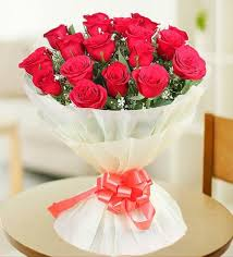 romantic red roses bouquet without vase
