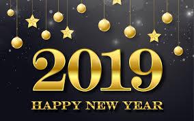 تحميل خلفيات 4k سنة جديدة سعيدة عام 2019 زخرفة ذهبية خلفية