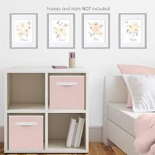 Yellow And Pink Watercolor Floral Wall Art Prints Room Decor For Baby Nursery And Kids By Sweet Jojo Designs Set Of 4 Blush Peach Orange Cream Grey And White Shabby
