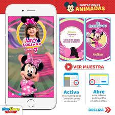 Tarjeta Video Invitacion Digital Animada Minnie Mouse Bs