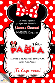 Minnie Mouse Roja 25 Invitaciones Impresas Personalizadas