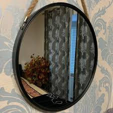round wall mirror porthole rope rustic