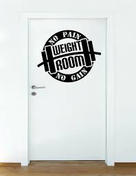 Decal Weight Room No Pain No Gain Body Builder 20x20 Contemporary Wall Decals By Design With Vinyl