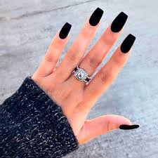 coffin matte black nails nail and