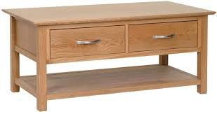 lisbon oak coffee table 2 drawers old