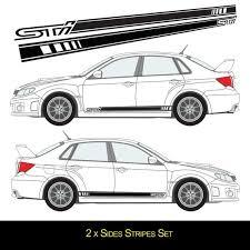 For Subaru Impreza Sti Vinyl Stickers Side Banner Stripes Etsy