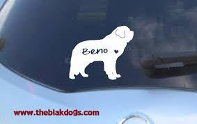 St Bernard Silhouette Vinyl Sticker Personalized Car Decal Blakdogs Vinyl Designs