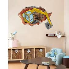 3d Cracked Wall Decal Stickers Excavator Construction Wall Art Mural Poster Kids Boys Room Wall Paper Home Decor Wall Graphic Art Stickers For Walls Art Wall Decal From Magicforwall 6 03 Dhgate Com