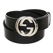 gucci black leather silver gg belt