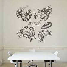 Ik2807 Wall Decal Sticker Mussels Cancer Crab Seafood Restaurant Stickersforlife