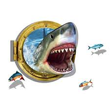 3d Shark Jaws Fishes Wall Sticker For A Fear Factor Party Removable Wall Art Wall Stickers Cartoon Sticker Wall Art