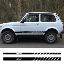 2pcs Auto Sport Car Door Side Decals Skirt Vinyl Stripes Stickers For Lada Xray Largus Granta Niva Car Decoration Accessories Wish