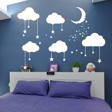 Amazon Com Big Clouds Stars Wall Decal Kids Nursery Bedroom Decor Sticker Clouds Moon Stars Art Baby Decal Diy Decor Clouds Decal White 28x35inch Arts Crafts Sewing