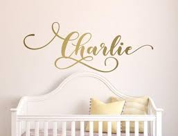 Script Name Wall Art Monogram Wall Sticker Gold Name Etsy Name Wall Art Gold Wall Stickers Monogram Wall