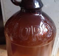 clorox bleach amber brown glass bottle