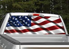 Waving American Flag Rear Window Graphic Miller Graphics
