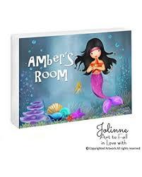 Huge Deal On Mermaid Room Decor Personalized Name Girls Door Sign Underwater Wall Art Kids Gift