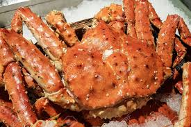 Alaska Or Red King Crab On Ice In Fish ...