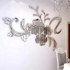 3d Mirror Wall Sticker Decal Diy Wall Stickers For Living Room Modern Style Flower Home Room Art Mural Decor Removable Wall Stickers Aliexpress