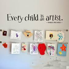 Every Child Is An Artist Wall Sticker Pablo Picasso Quote Wall Decal Teacherfanatics Com