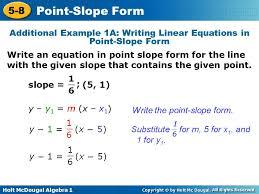 holt mcdougal algebra point slope form
