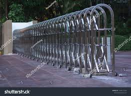 Stainless Steel Barrier Gate Folding Fence Stock Photo Edit Now 1434117734