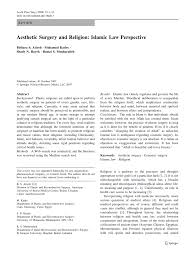 pdf aesthetic surgery and religion islamic law perspective