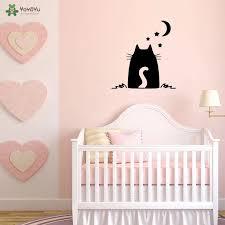 Yoyoyu Wall Decal Cute Cat Stars And Moon Vinyl Decals Mural For Kids Bedroom Car Windows Cute Art Home Decoration Qq175 Wall Stickers Aliexpress