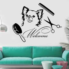 Dog Wall Decals Welcome Grooming Salon Decal Vinyl Sticker Pet Shop Animals Art Wall Stickers Wall Vinyl Removable Fk 79 Wall Stickers Aliexpress