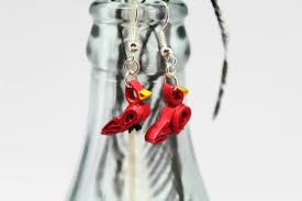 cardinal earrings handmade jewelry