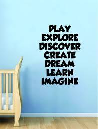 Play Explore Discover Quote Wall Decal Sticker Decor Vinyl Art Bedroom Boop Decals
