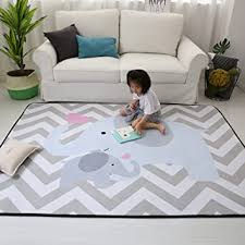 Amazon Com Stylish Extra Large Baby Play Mat Soft Playmat Grey Rug Foam Play Mat Kid Floor Mats Baby Crawling Mats Climbing Pad Nursery Rug Carpet Elephant 59 By 79 Inches Furniture