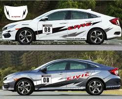 Vinyl Auto Side Door Stripe Car Sticker Bonnet Graphics Decal For Honda Civic Ebay