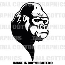 Gorilla Head Custom Personalized Single Color Vinyl Decal Just Add Text To Make It Your Own
